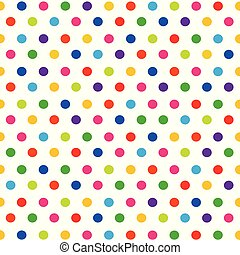 Vector seamless pattern with colorful polka dots on white background