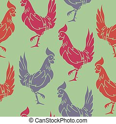 Vector seamless pattern with colorful rooster silhouettes on a green background. Rooster birds pattern.