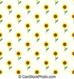 Vector seamless pattern with colorful sunflowers. Seamless pattern.