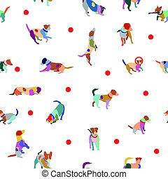 Vector seamless pattern with colorful terrier dogs