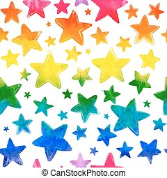 Vector seamless pattern with colorful watercolor painted stars