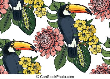 Vector seamless pattern with compositions of hand drawn tropical flowers and exotic birds