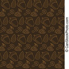 Vector seamless pattern with cones, mushrooms, berries and acorns. Autumn forest items background.