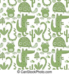 Vector Seamless Pattern with Crocodiles.