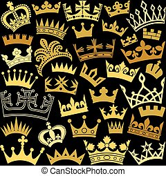 vector seamless pattern with crown