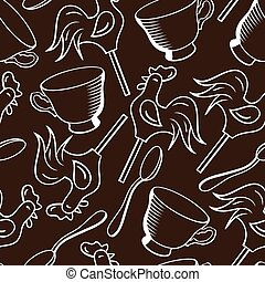 Vector seamless pattern with cups, spoons and