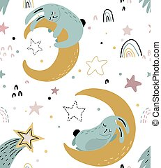 Vector seamless pattern with cute animals fliyng and sleeping on moon and rainbow.