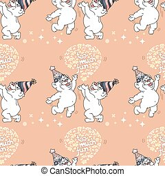 Vector Seamless pattern with cute bears on pink background.