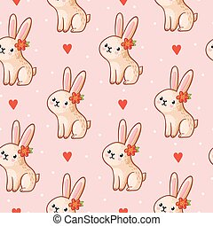 Vector seamless pattern with cute bunny on a pink background.