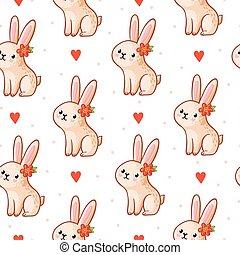 Vector seamless pattern with cute bunny on a white background.