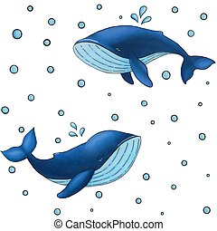 Vector seamless pattern with cute cartoon blue whale on white background with water drops