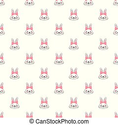 Vector seamless pattern with cute cartoon bunny with bow.