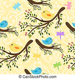 Vector seamless pattern with cute birdies