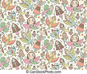 Vector seamless pattern with cute fairies in children's drawing