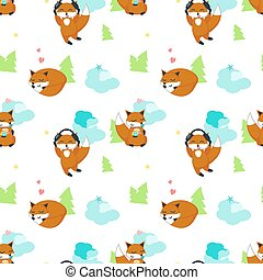 Vector seamless pattern with cute funny foxes