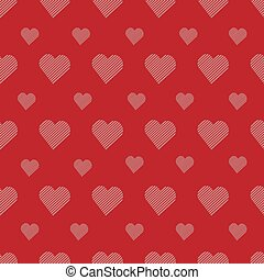 Vector seamless pattern with cute hearts pink in white strip