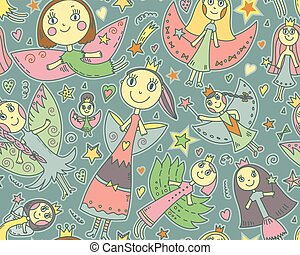 Vector seamless pattern with cute fairies in children drawing