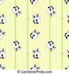 Vector seamless pattern with cute little panda