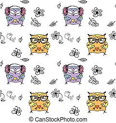 Vector seamless pattern with cute owls. hand drawing cartoon...