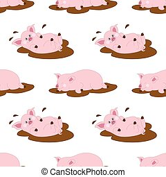 Vector Seamless Pattern with Cute Pigs. Vector Baby Pig. Pig...