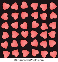 Vector seamless pattern with cute pink hearts on a black background. Love vector illustration.
