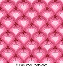 Vector seamless pattern with cute pink hearts