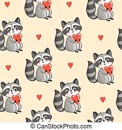 Cartoon raccoon in vector.