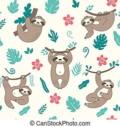 Seamless Pattern With Cute Sloths And Floral Elements On Black Background Trendy Print With Exotic Animal Vector