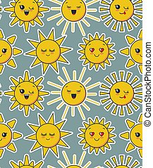 Vector seamless pattern with cute smiling sun faces.