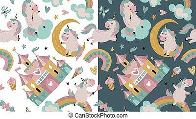 Vector seamless pattern with cute unicorns, clouds, rainbow, stars.