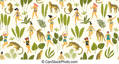 Vector seamless pattern with dancing ladyes in swimsuits and leopards