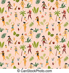 Vector seamless pattern with dancing ladyes in swimsuits and tropical palm leaves