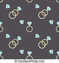 Vector seamless pattern with diamonds and luxury golden rings.
