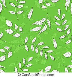 Vector seamless pattern with different abstract leaves. background with shades of green leaves.