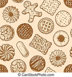 seamless pattern with different tasty cookies. - Vector...