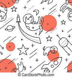 Vector seamless pattern with dogs in space