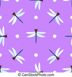 Vector seamless pattern with dragonflies and circles