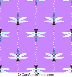 Vector seamless pattern with dragonflies and wavy lines