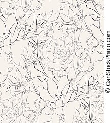 Vector Seamless Pattern with Drawn Flowers, Florals