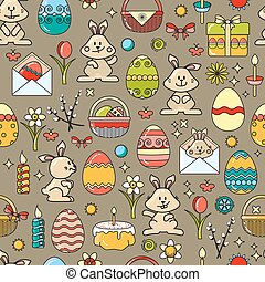 Vector seamless pattern with Easter icon on taupe background.