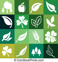 Vector seamless pattern with ecology signs