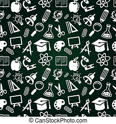 vector seamless pattern with education icons - back to...