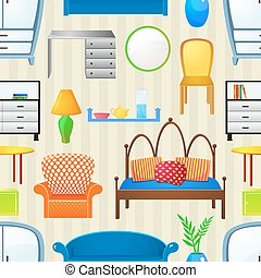 Vector seamless pattern with elements furniture