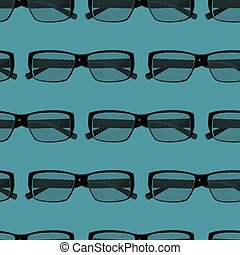 vector seamless pattern with engraving eye glasses. fashion back