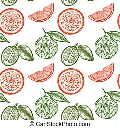 Vector seamless pattern with engraving fruits. Summer sketched elements repeated on white background.