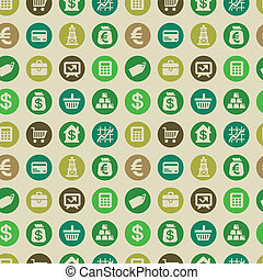 Vector seamless pattern with finance icons and signs - money...