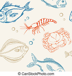 seamless pattern with fish - vector seamless pattern with ...