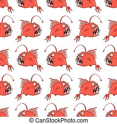 vector seamless pattern with fish on a white background
