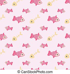Vector seamless pattern with fish.