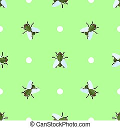 Vector seamless pattern with flies and circles